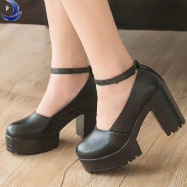 Round Toe Leather Chunky High Heel Platform  with Ankle Strap