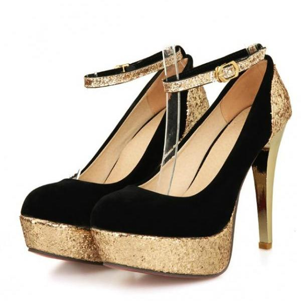Glittery and Shimmery Rounded Toe High Heel Pumps with Ankle Strap