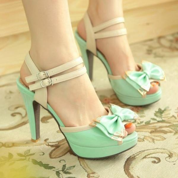 Ankle Strap Peep Toe Sandals with Bow