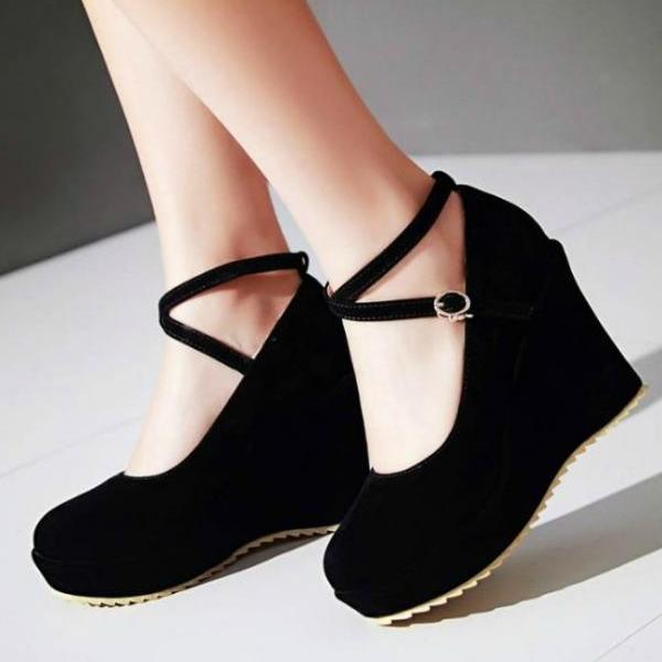 Sexy Cross Strap Wedge Shoes