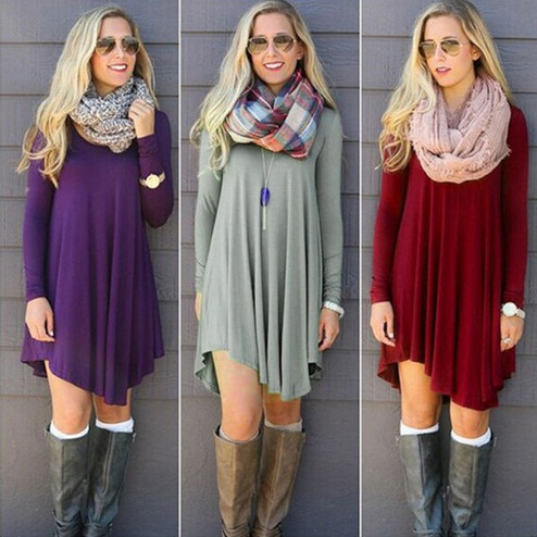 Chic Long Sleeve Autumn and Winter Dress