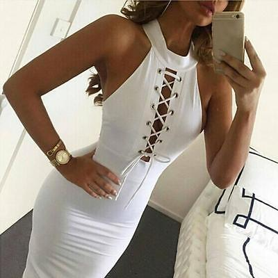 Sexy Lace Up White Sleeveless Body con Dress