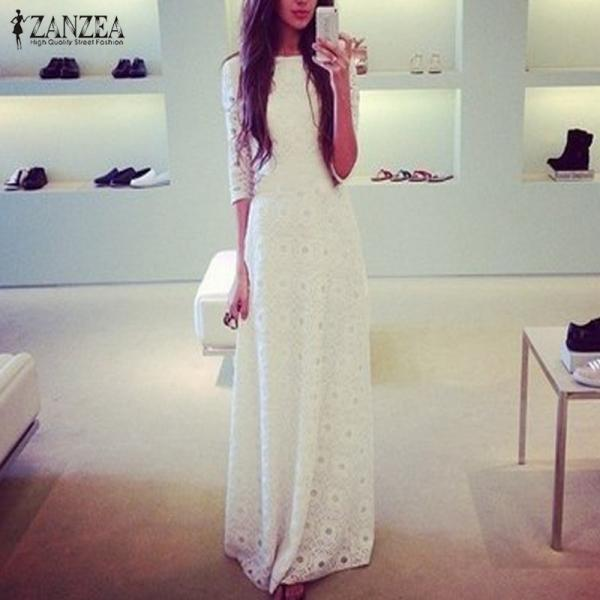 White Lace Boho Long Sleeve Maxi Dress