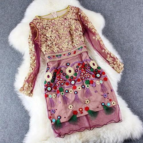 Luxury Lace Embroidered Vintage Dress