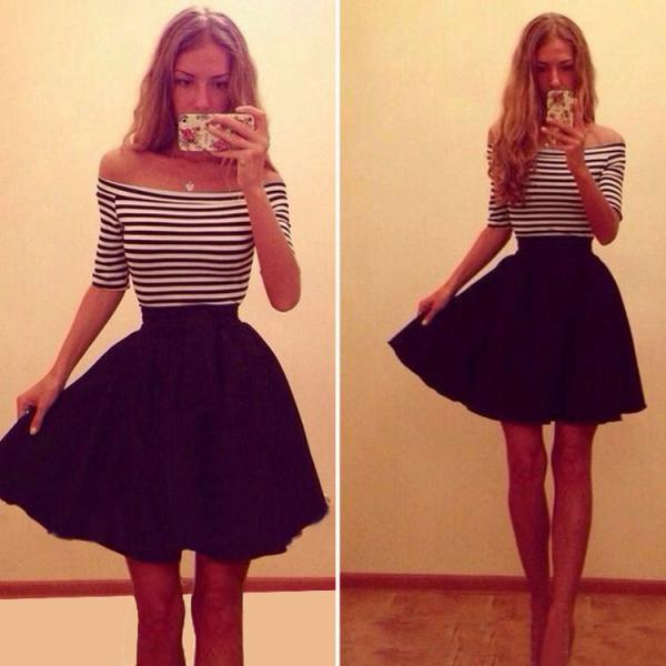 Summer Sexy Off Shoulder Striped Black and White Dress
