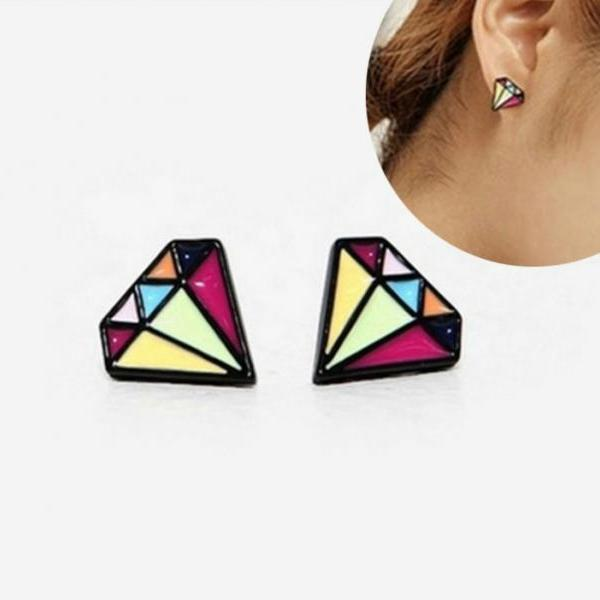 Fashion Multi color Lovely Geometric Gem Shape Stud Earrings for Women