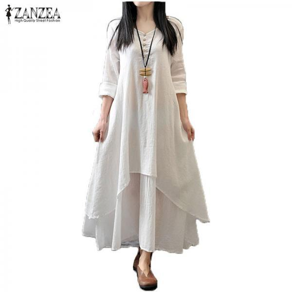 Elegant Loose Long Sleeve Casual Dress