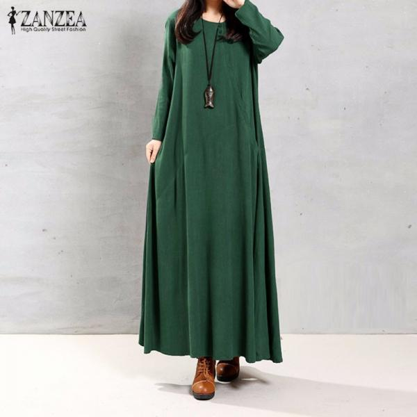 Women Retro Long Sleeve Maxi Dress with Pockets