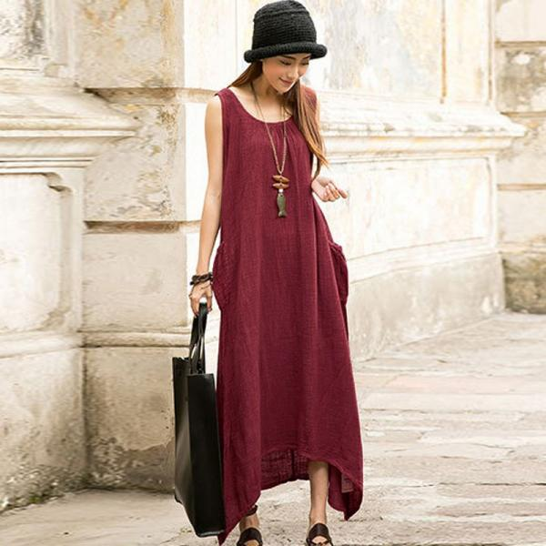 Women Casual Loose Sleeveless Long Dress