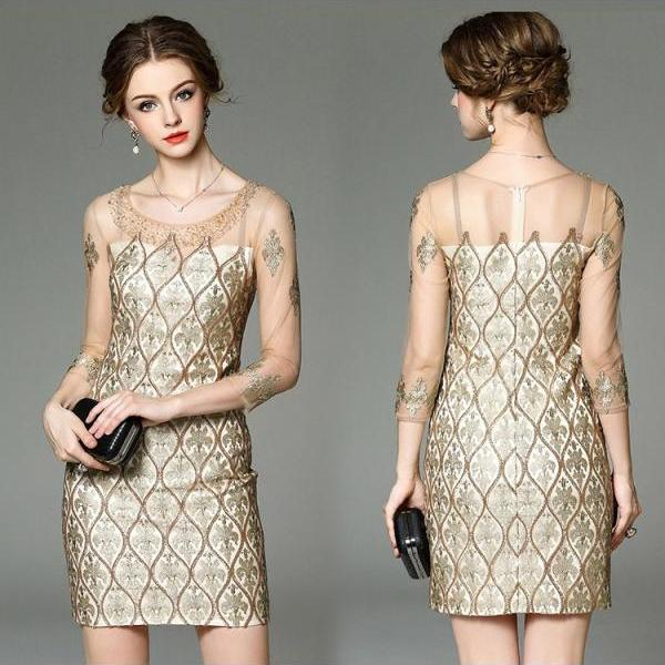 Golden Lace Beaded Classy Vintage Style Dress