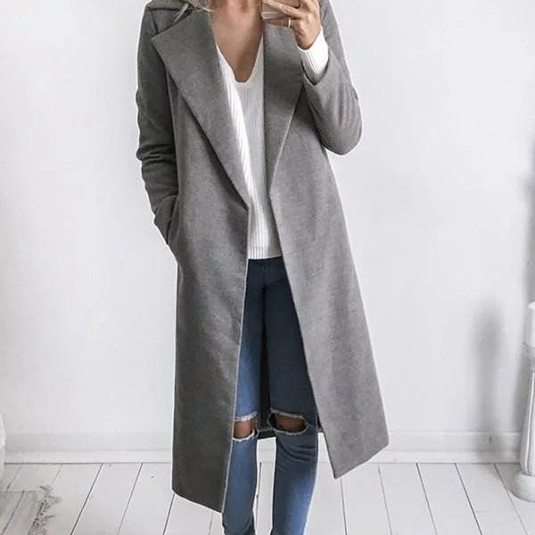 High Quality Grey Lapel Woolen Winter Coat