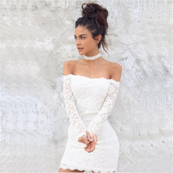 Long Sleeve Sexy Strapless Off Shoulder Bodycon Dress Short Lace Dress