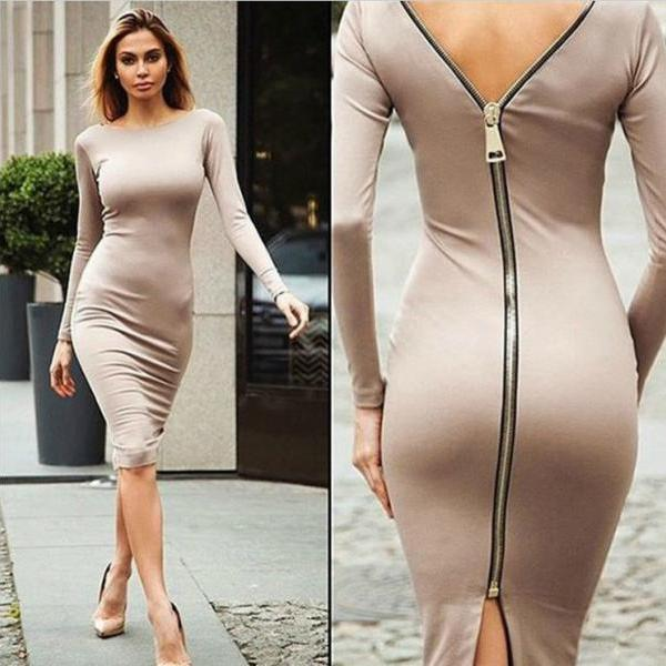 Sexy Zip Back Long Sleeve Dress