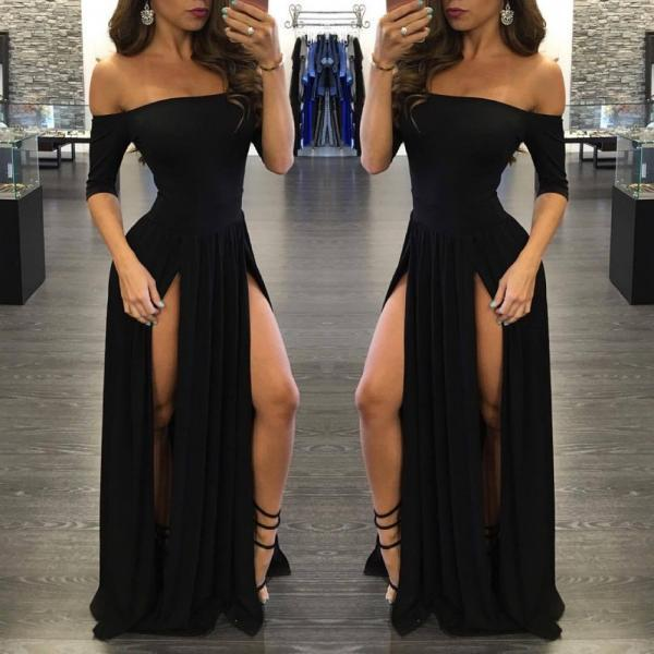 Elegant Off Shoulder Black Long Dress