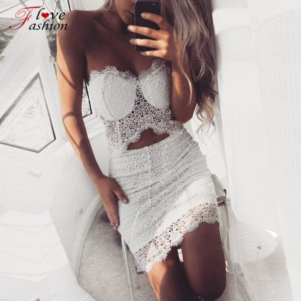 White Two Pieces Lace Top and Skirt Set