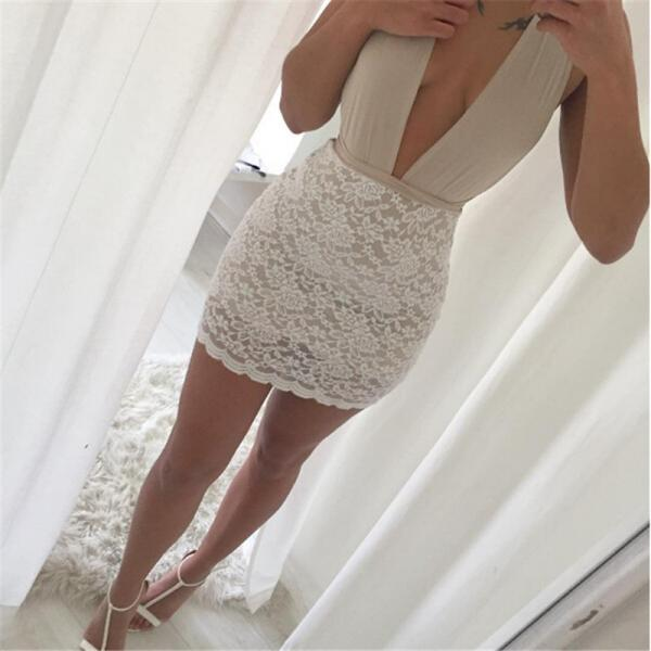 Deep V neck Sexy Lace Body con Dress