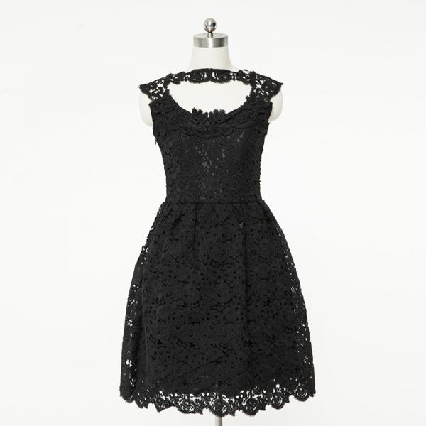 Black Lace Appliquéd Short A-Line Dress Featuring Scoop Neck with Cap Sleeves