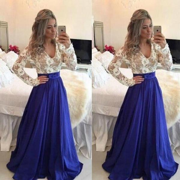 Elegant Blue Lace Long Dress