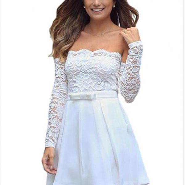 Beautiful White Long Sleeve Flare Lace Dress