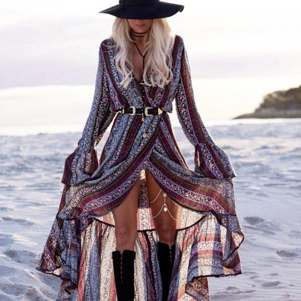 V Neck Bohemian Long Sleeve Printed Summer Beach Dress