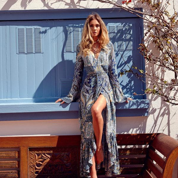 Blue Printed Long Sleeve Bohemian Maxi Dress
