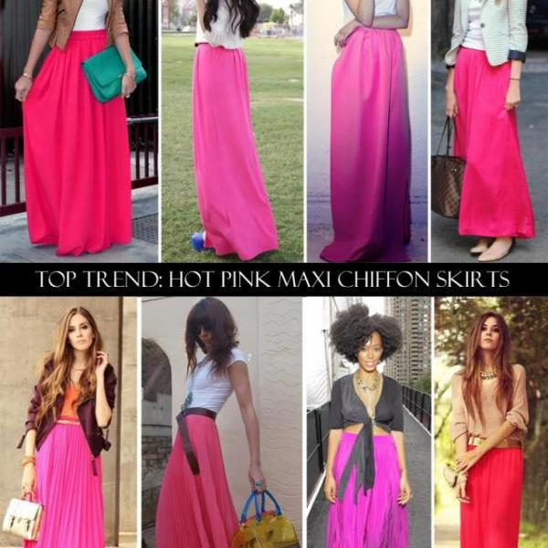 Elegant Long Chiffon Maxi Skirts