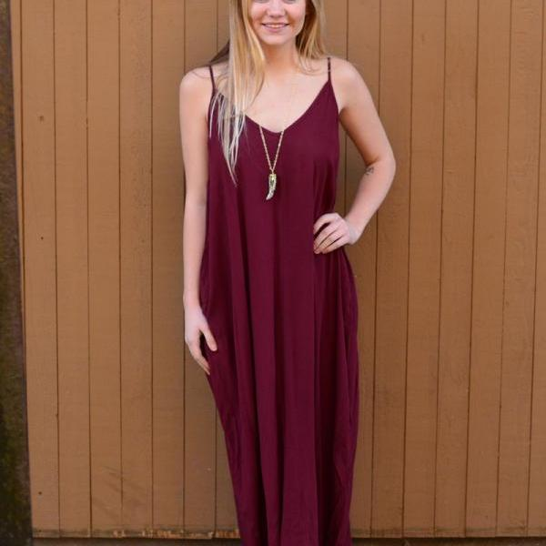 Wine Red Loose Summer Maxi Dress