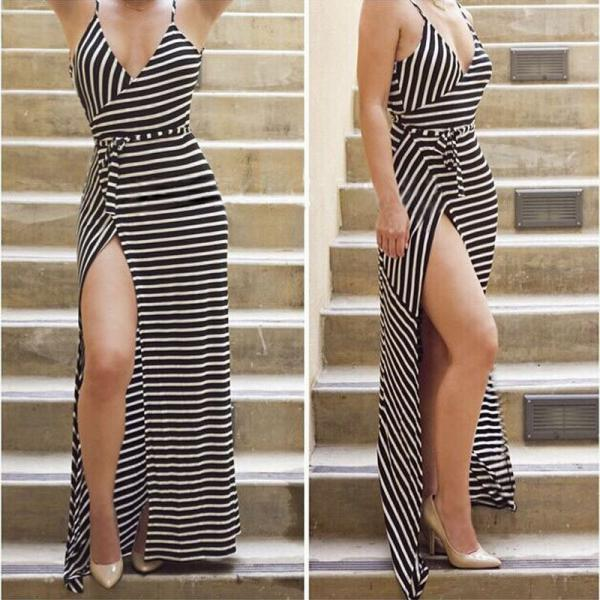 Black and White Striped Plunge V Wrap Maxi Dress Featuring High Slit