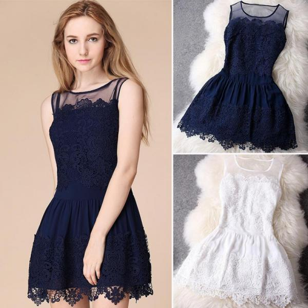 Lace Sleeveless Summer Princess Short Dress is Blue and White