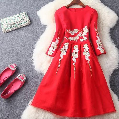 Classy Red Lace Embroidered Long Sleeve Ball Gown Party Dress