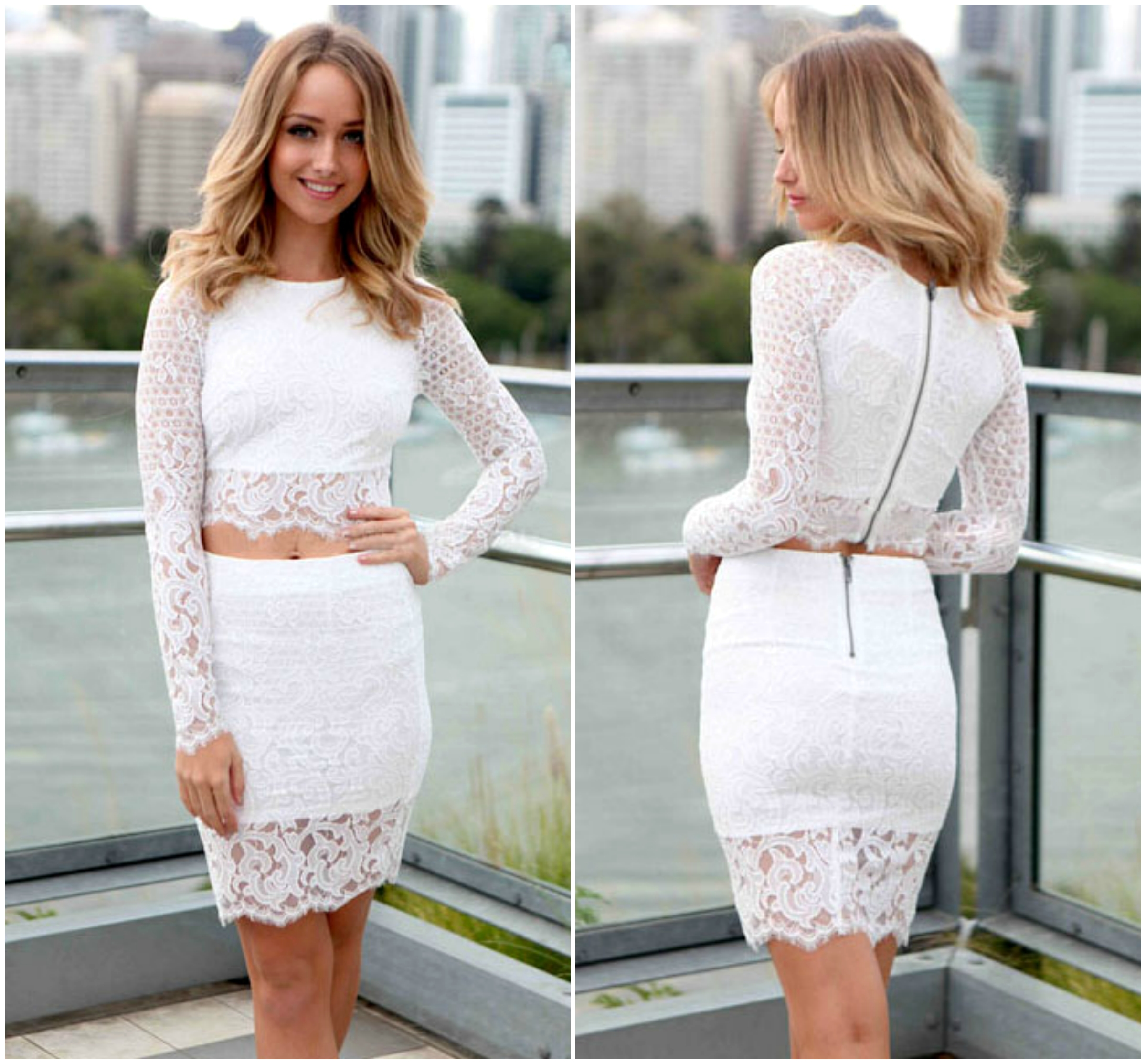 c2e6b4d72e94c5 Long Sleeve White Lace Two Piece Dress Set on Luulla