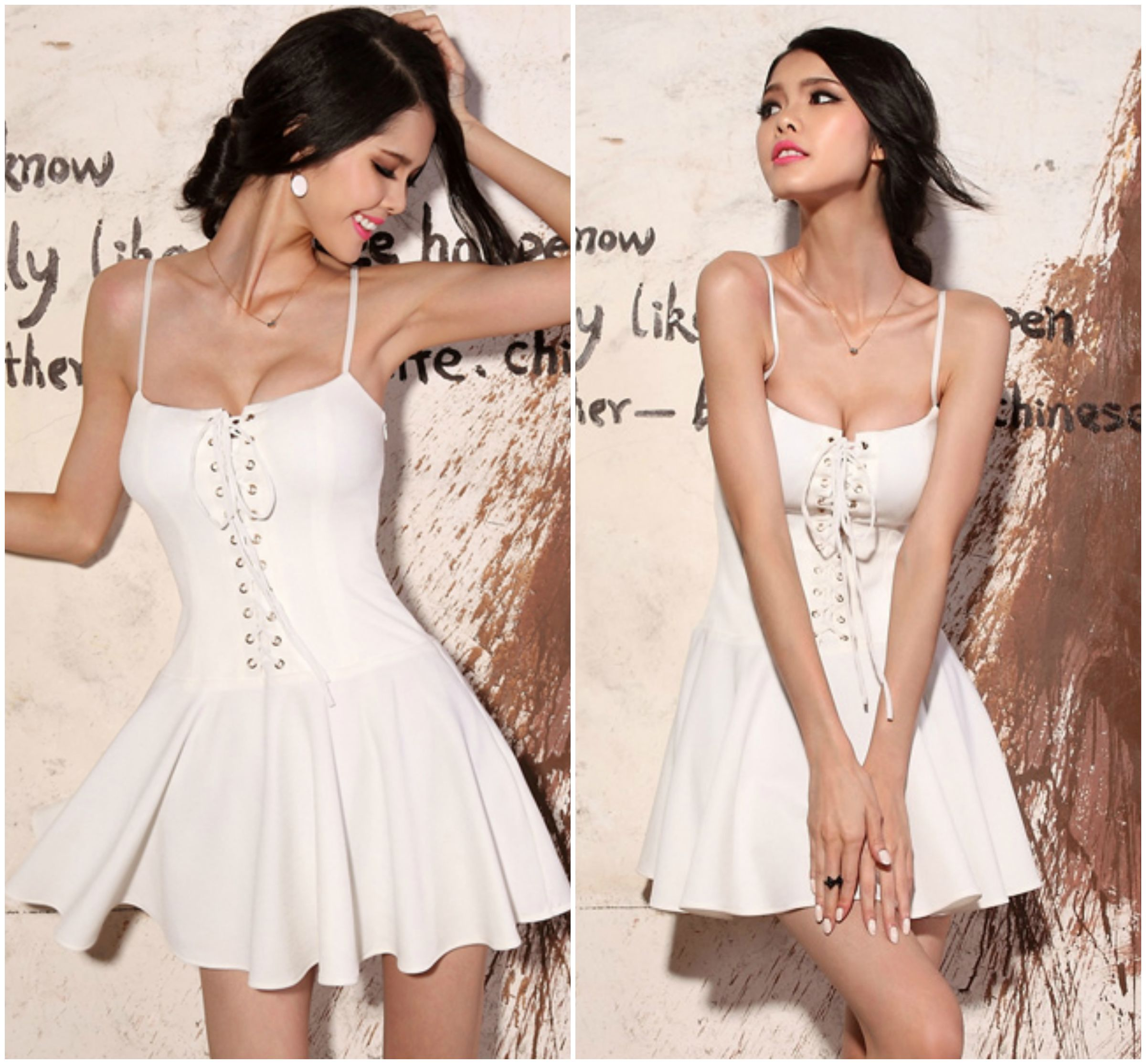 Sexy White Spaghetti Strap Lace Up Mini Dress on Luulla d7ad774dd
