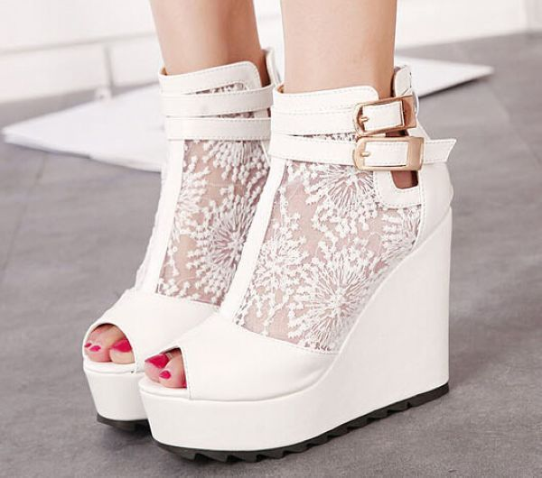 beautiful white peep toe wedge shoes on luulla